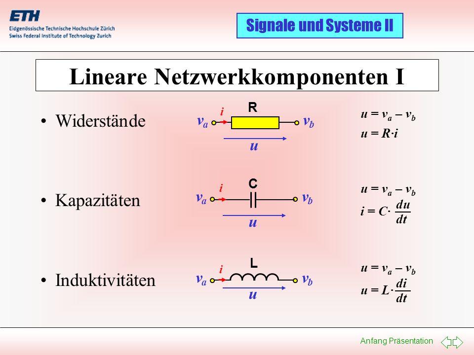 Lineare Netzwerkkomponenten I