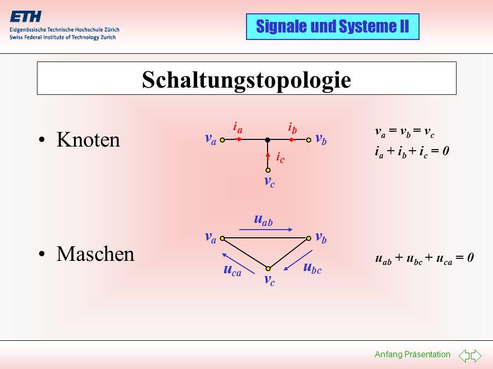 Schaltungstopologie Knoten Maschen v u v va = vb = vc ia + ib + ic = 0