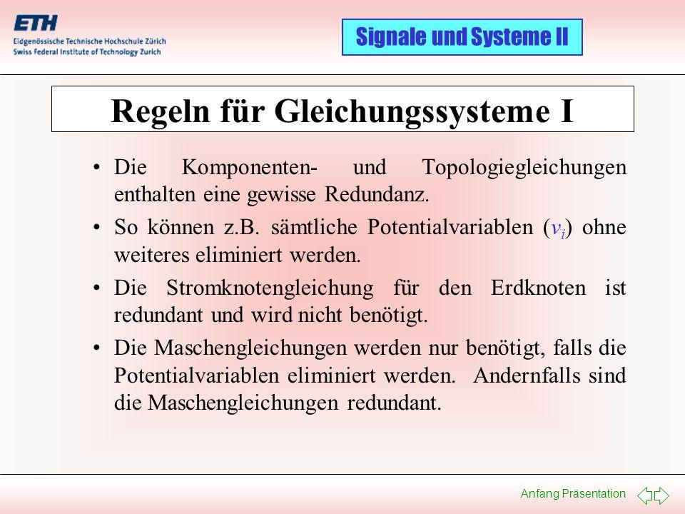 Regeln für Gleichungssysteme I