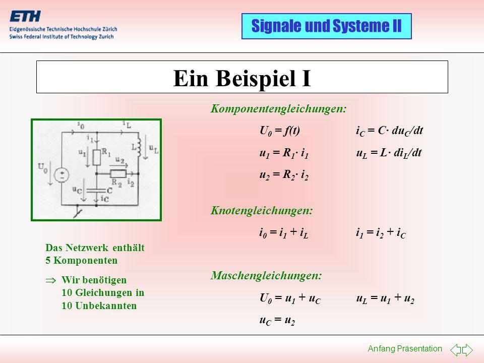 Ein Beispiel I Komponentengleichungen: U0 = f(t) iC = C· duC/dt