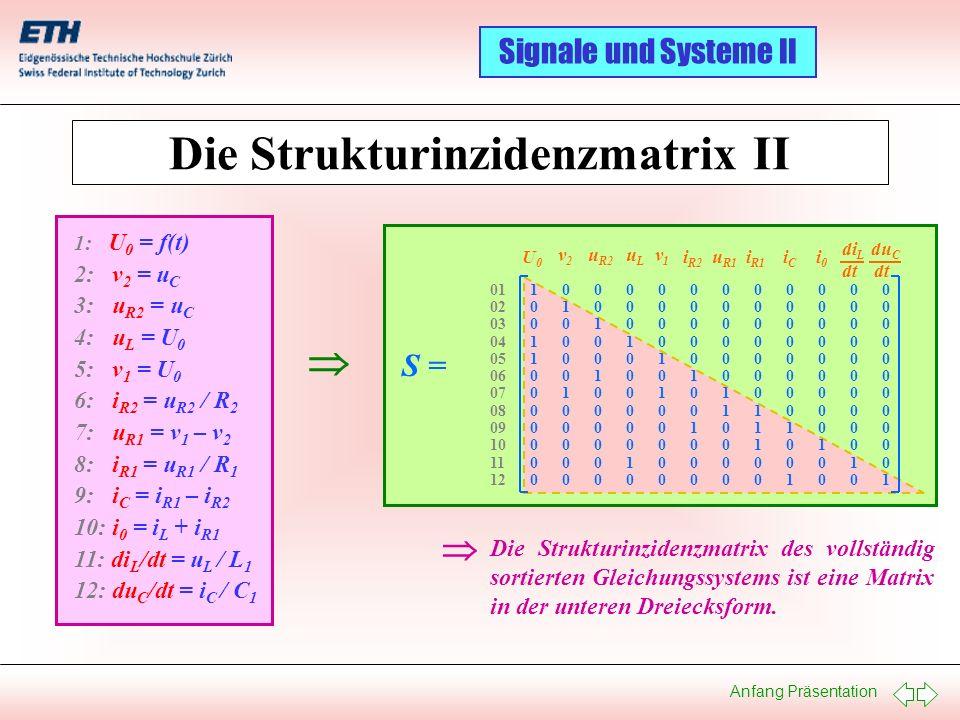 Die Strukturinzidenzmatrix II