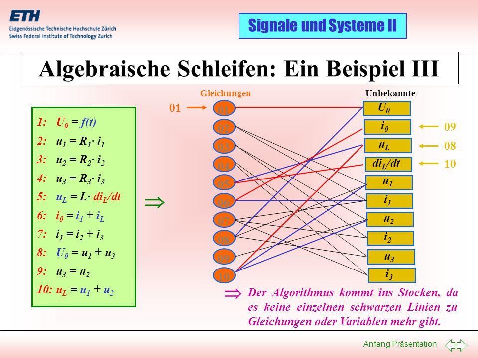 Algebraische Schleifen: Ein Beispiel III
