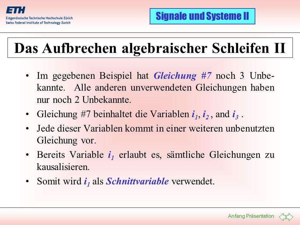 Das Aufbrechen algebraischer Schleifen II