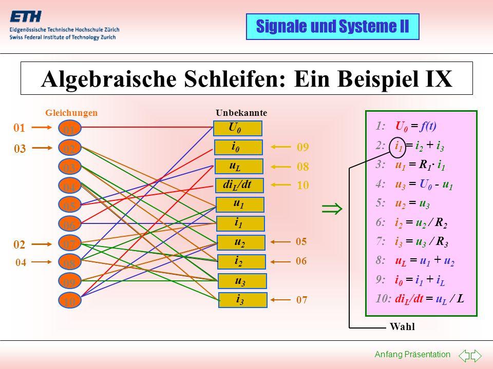 Algebraische Schleifen: Ein Beispiel IX