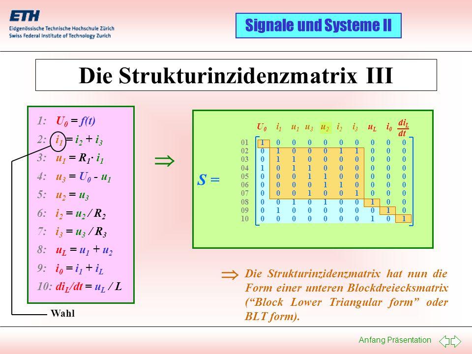 Die Strukturinzidenzmatrix III