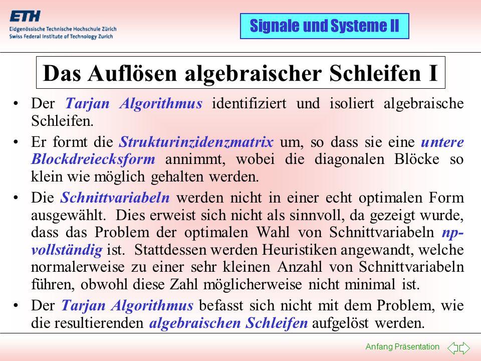 Das Auflösen algebraischer Schleifen I