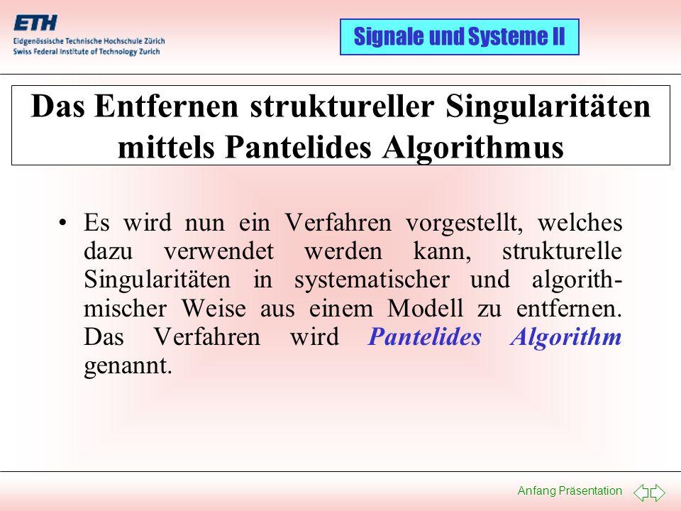Das Entfernen struktureller Singularitäten mittels Pantelides Algorithmus