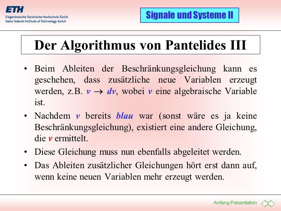 Der Algorithmus von Pantelides III