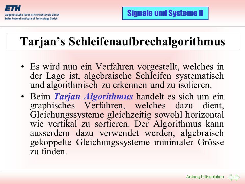 Tarjan's Schleifenaufbrechalgorithmus