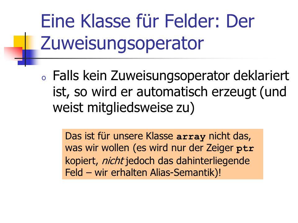 Eine Klasse für Felder: Der Zuweisungsoperator