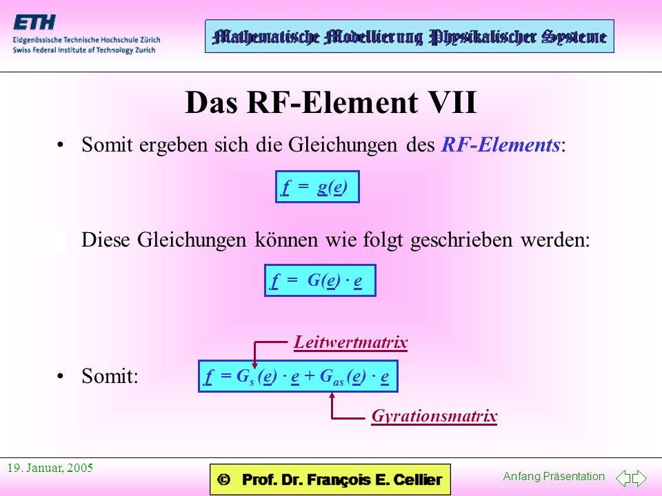 Das RF-Element VII Somit ergeben sich die Gleichungen des RF-Elements: