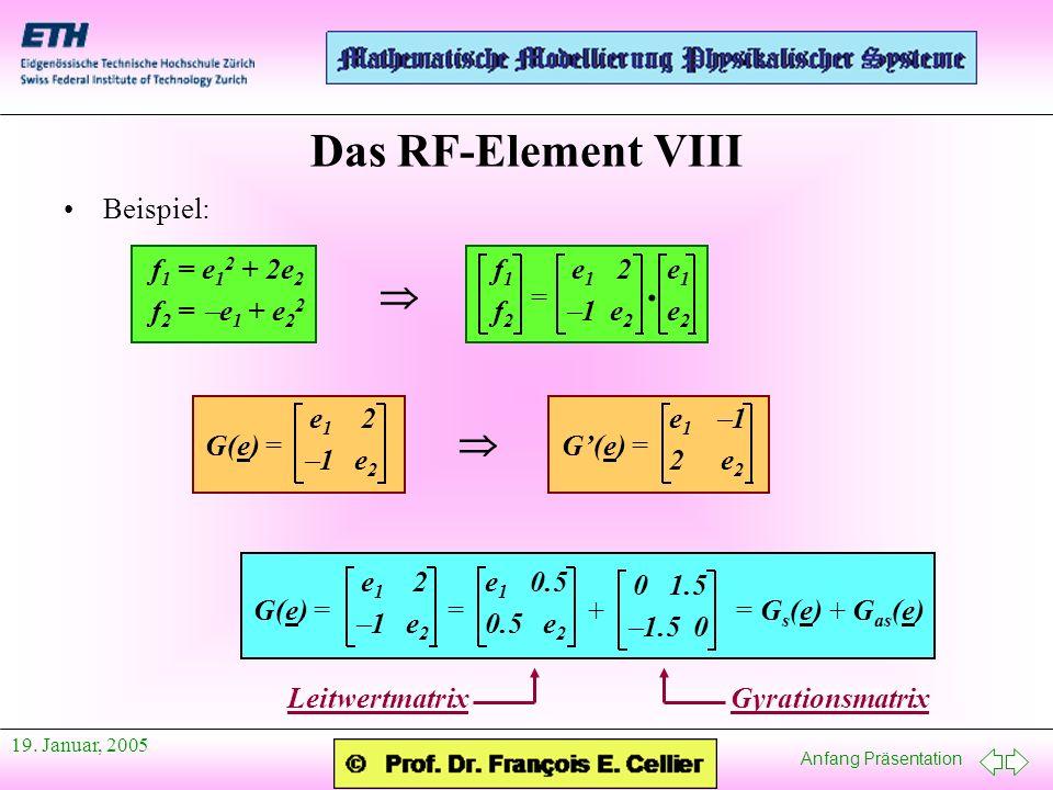 Das RF-Element VIII  ·  Beispiel: f1 = e12 + 2e2 f2 = -e1 + e22