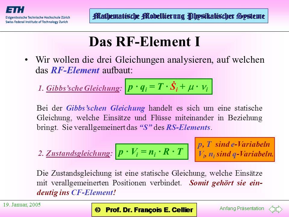 Das RF-Element I Wir wollen die drei Gleichungen analysieren, auf welchen das RF-Element aufbaut: 1. Gibbs'sche Gleichung:
