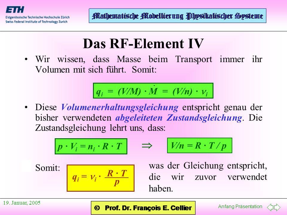 Das RF-Element IV Wir wissen, dass Masse beim Transport immer ihr Volumen mit sich führt. Somit: