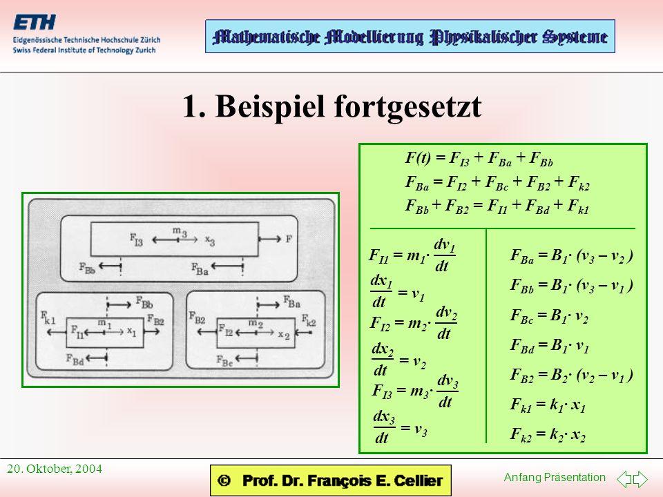 1. Beispiel fortgesetzt F(t) = FI3 + FBa + FBb