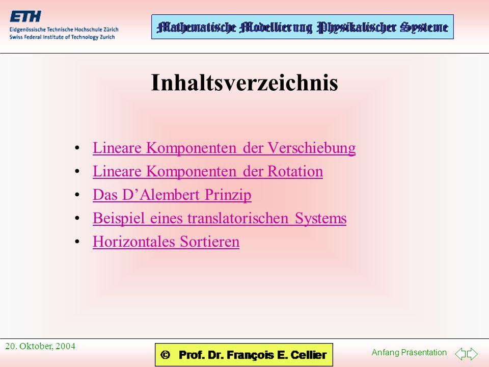 Inhaltsverzeichnis Lineare Komponenten der Verschiebung