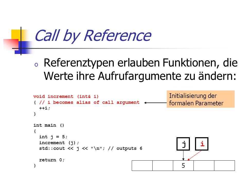 Call by Reference Referenztypen erlauben Funktionen, die Werte ihre Aufrufargumente zu ändern: Initialisierung der formalen Parameter.