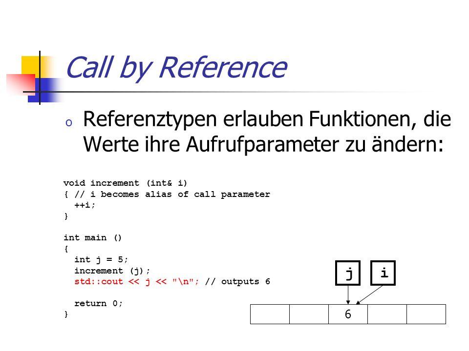 Call by Reference Referenztypen erlauben Funktionen, die Werte ihre Aufrufparameter zu ändern: void increment (int& i)