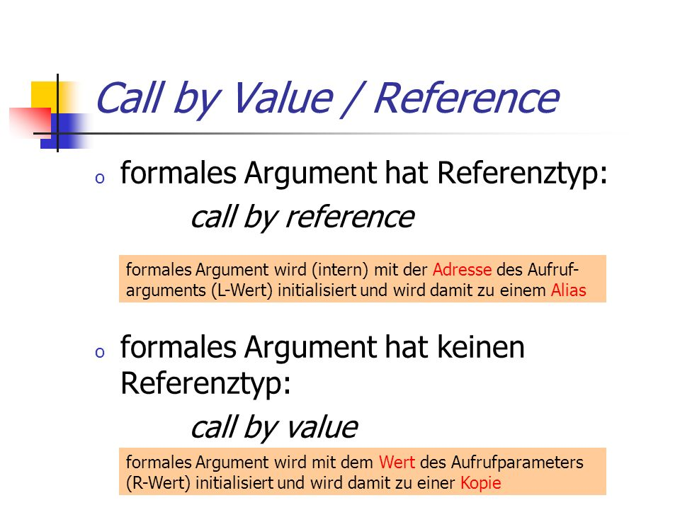 Call by Value / Reference