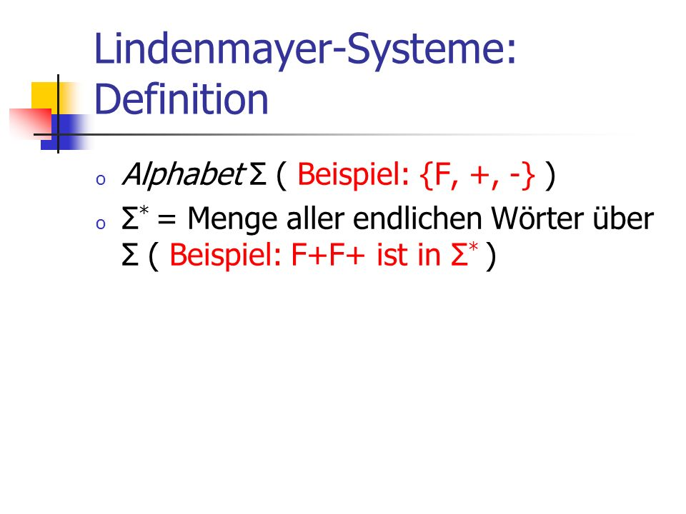 Lindenmayer-Systeme: Definition