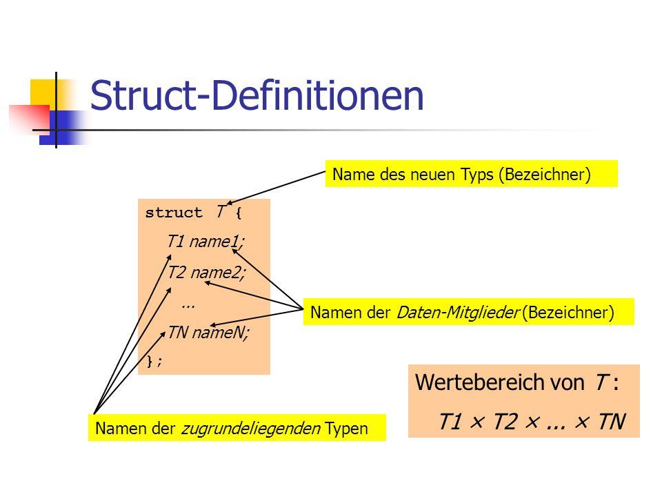 Struct-Definitionen Wertebereich von T : T1 × T2 × ... × TN