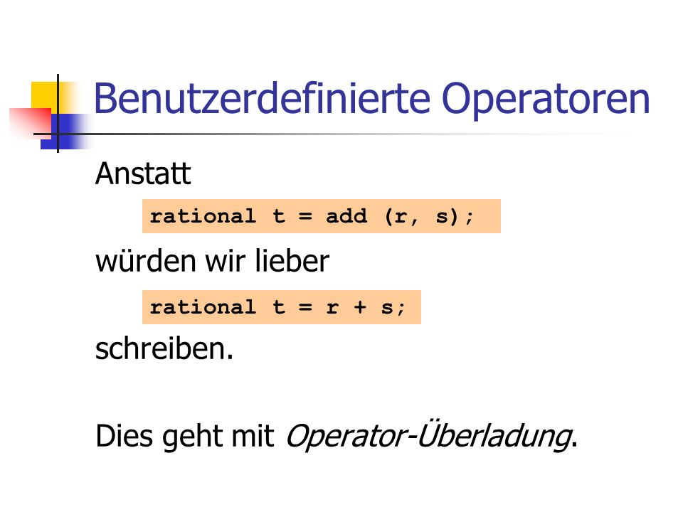 Benutzerdefinierte Operatoren