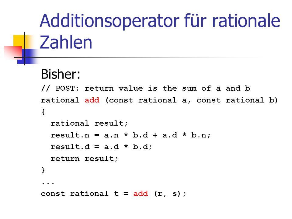 Additionsoperator für rationale Zahlen