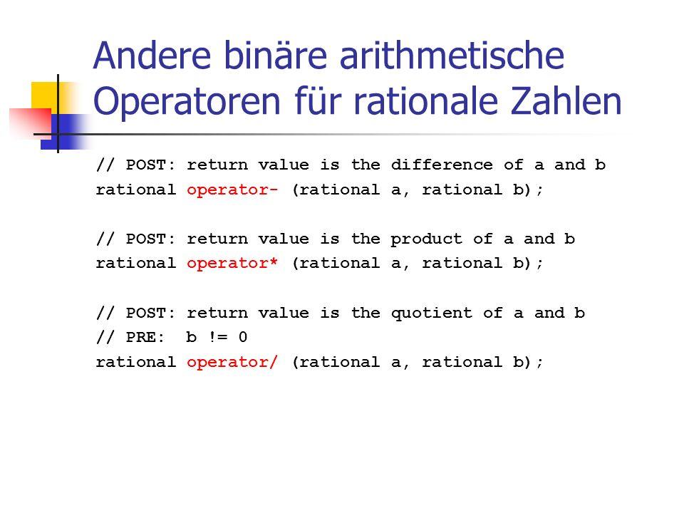 Andere binäre arithmetische Operatoren für rationale Zahlen