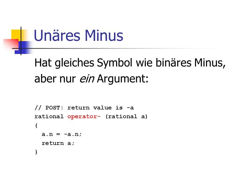 Unäres Minus Hat gleiches Symbol wie binäres Minus,