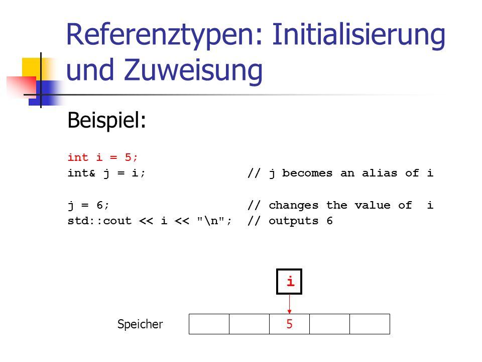 Referenztypen: Initialisierung und Zuweisung