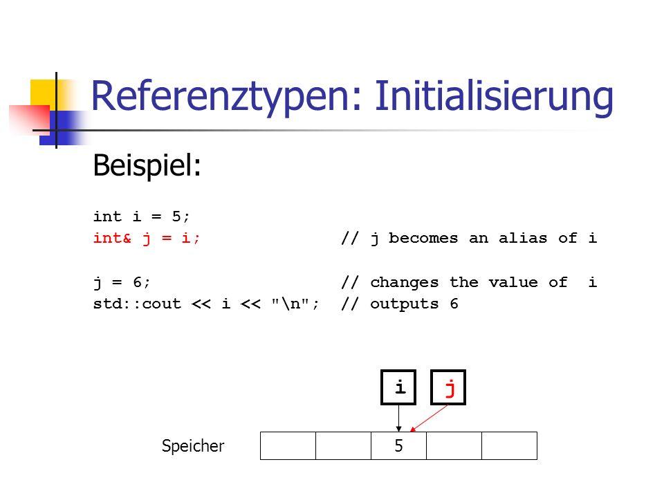 Referenztypen: Initialisierung
