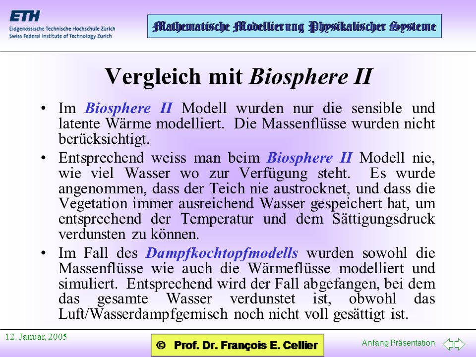 Vergleich mit Biosphere II