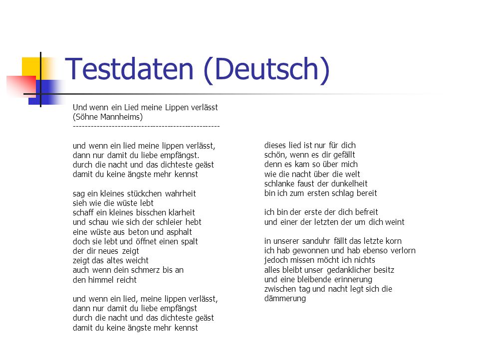 Testdaten (Deutsch) Und wenn ein Lied meine Lippen verlässt