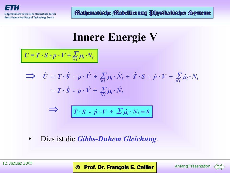 Innere Energie V   · · Dies ist die Gibbs-Duhem Gleichung.
