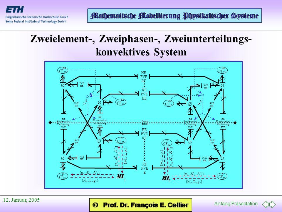 Zweielement-, Zweiphasen-, Zweiunterteilungs- konvektives System