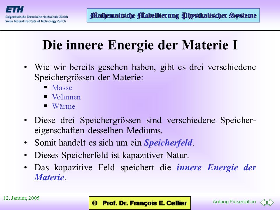 Die innere Energie der Materie I
