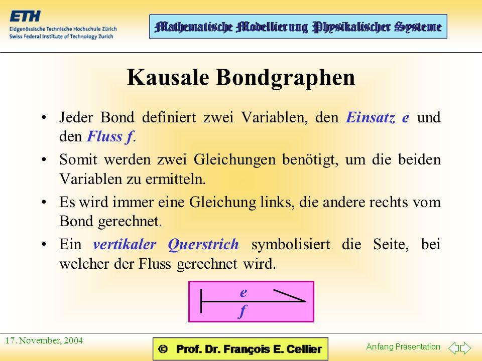 Kausale Bondgraphen Jeder Bond definiert zwei Variablen, den Einsatz e und den Fluss f.