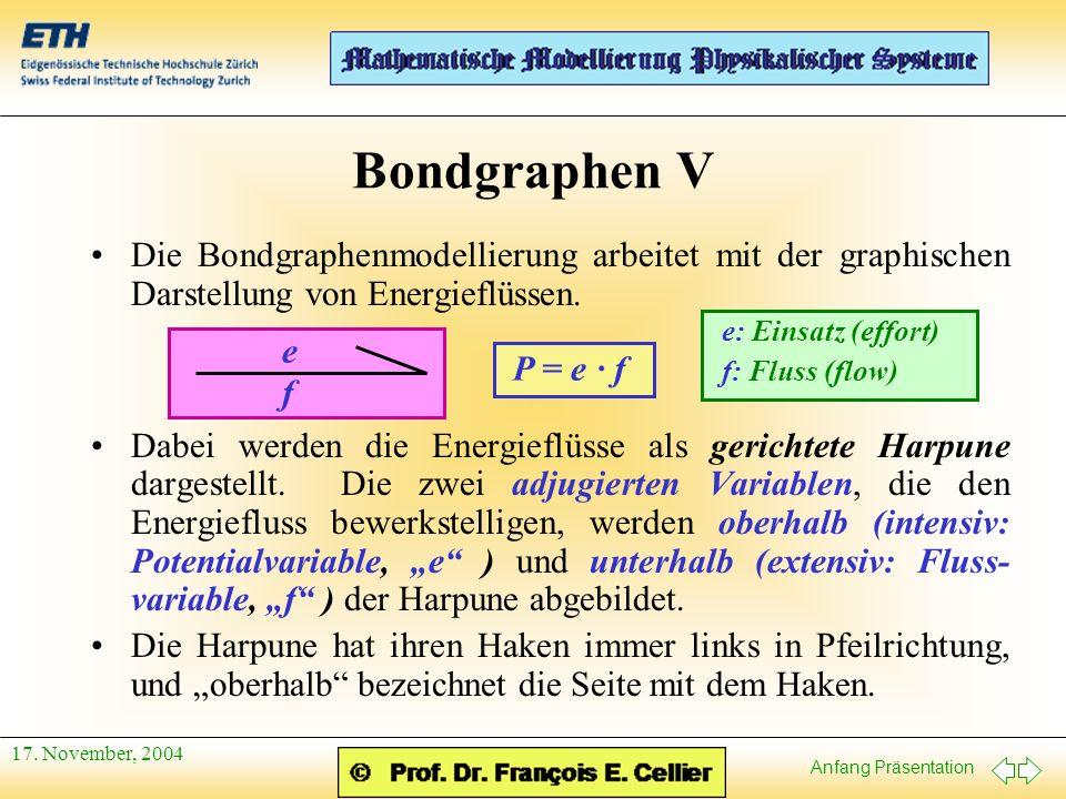 Bondgraphen V Die Bondgraphenmodellierung arbeitet mit der graphischen Darstellung von Energieflüssen.