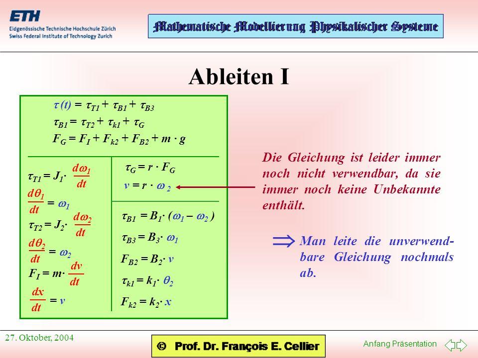Ableiten I t (t) = tT1 + tB1 + tB3. tB1 = tT2 + tk1 + tG. FG = FI + Fk2 + FB2 + m · g. tT1 = J1·
