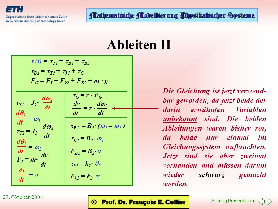 Ableiten II t (t) = tT1 + tB1 + tB3. tB1 = tT2 + tk1 + tG. FG = FI + Fk2 + FB2 + m · g. tT1 = J1·