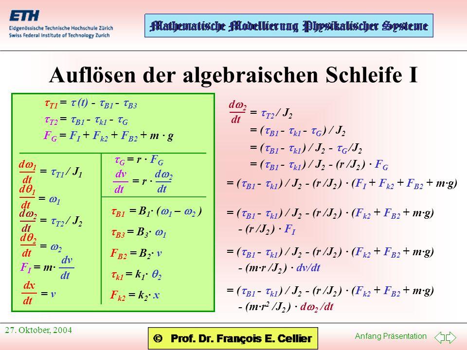 Auflösen der algebraischen Schleife I