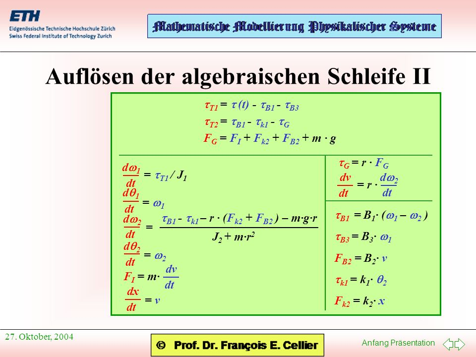 Auflösen der algebraischen Schleife II