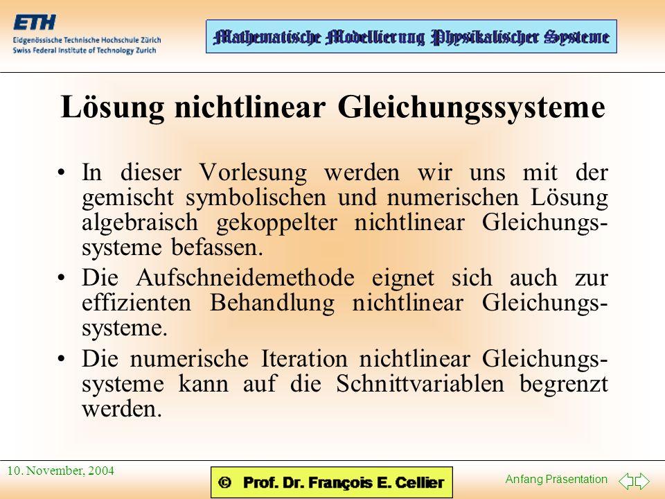 Lösung nichtlinear Gleichungssysteme