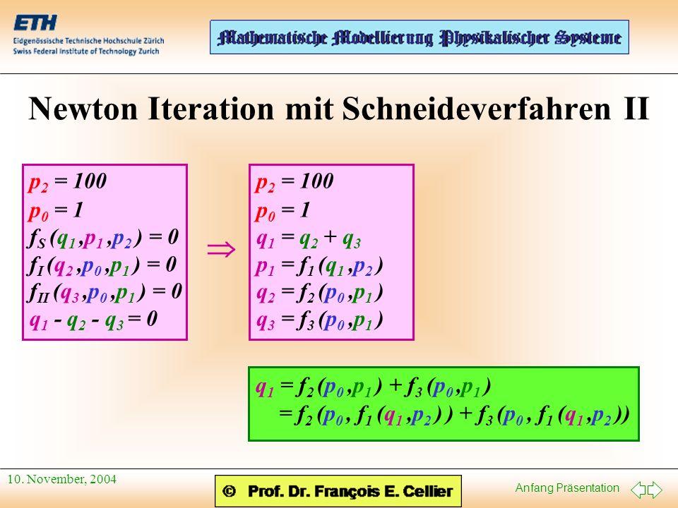 Newton Iteration mit Schneideverfahren II