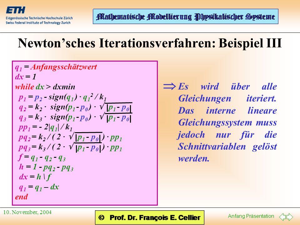 Newton'sches Iterationsverfahren: Beispiel III
