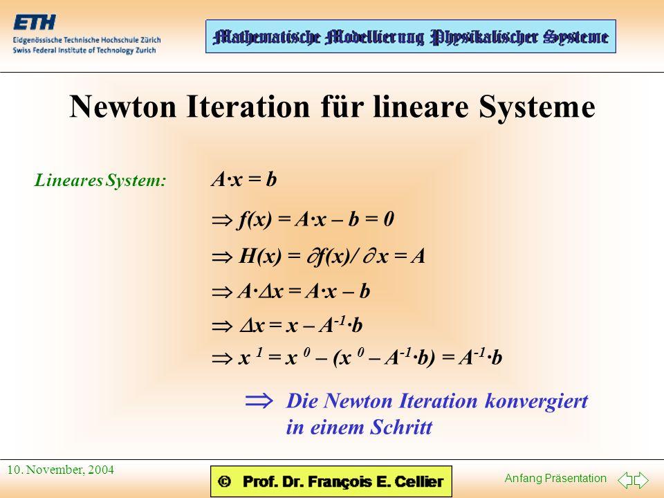 Newton Iteration für lineare Systeme