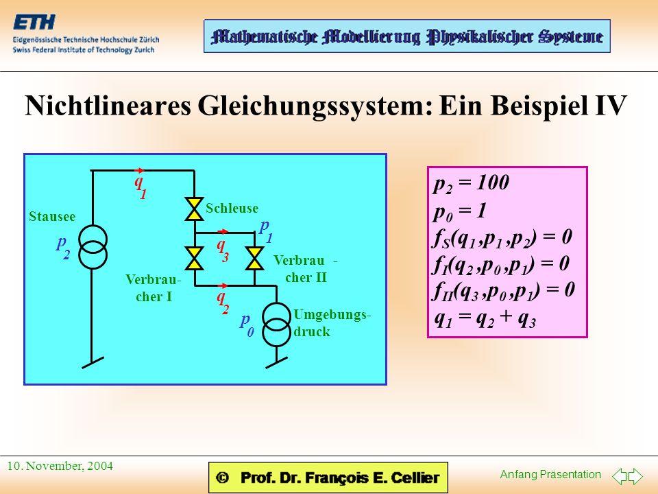 Nichtlineares Gleichungssystem: Ein Beispiel IV