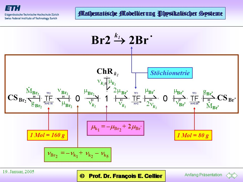 Br2  2Br · · · · · · ChR CS k1 Stöchiometrie n m g M m n m n 2n 2m n