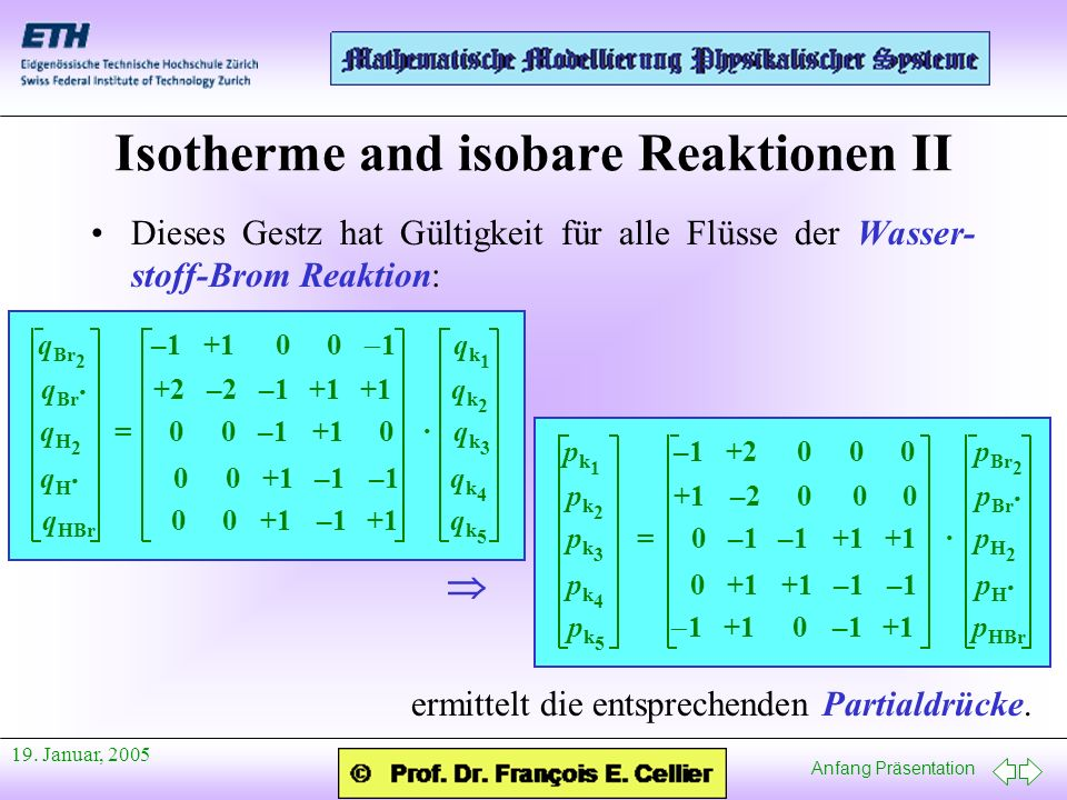 Isotherme and isobare Reaktionen II