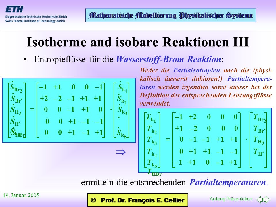 Isotherme and isobare Reaktionen III